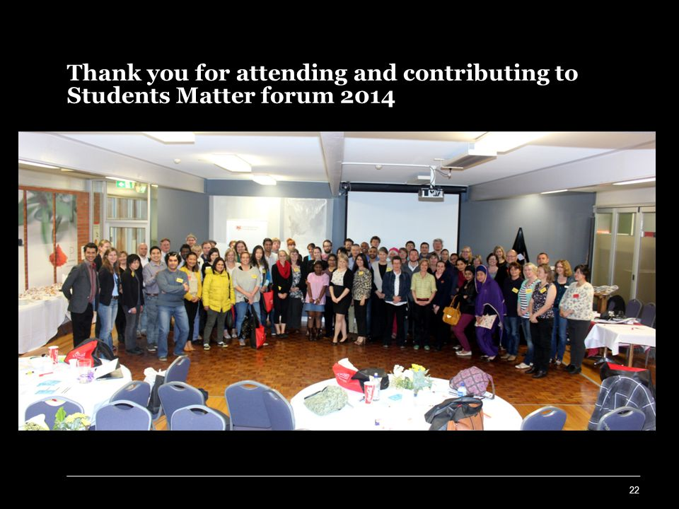Thank you for attending and contributing to Students Matter forum 2014 22