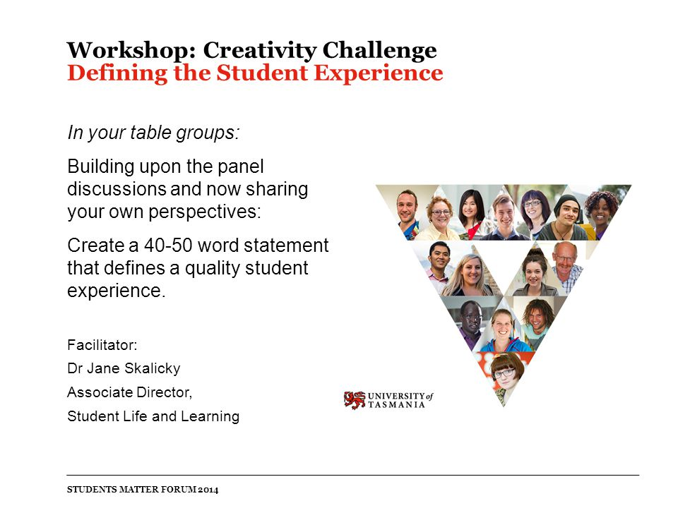 Workshop: Creativity Challenge Defining the Student Experience In your table groups: Building upon the panel discussions and now sharing your own perspectives: Create a 40-50 word statement that defines a quality student experience.