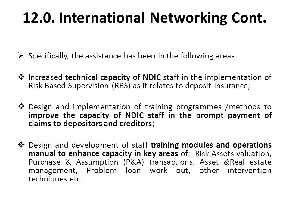 12.0. International Networking Cont.