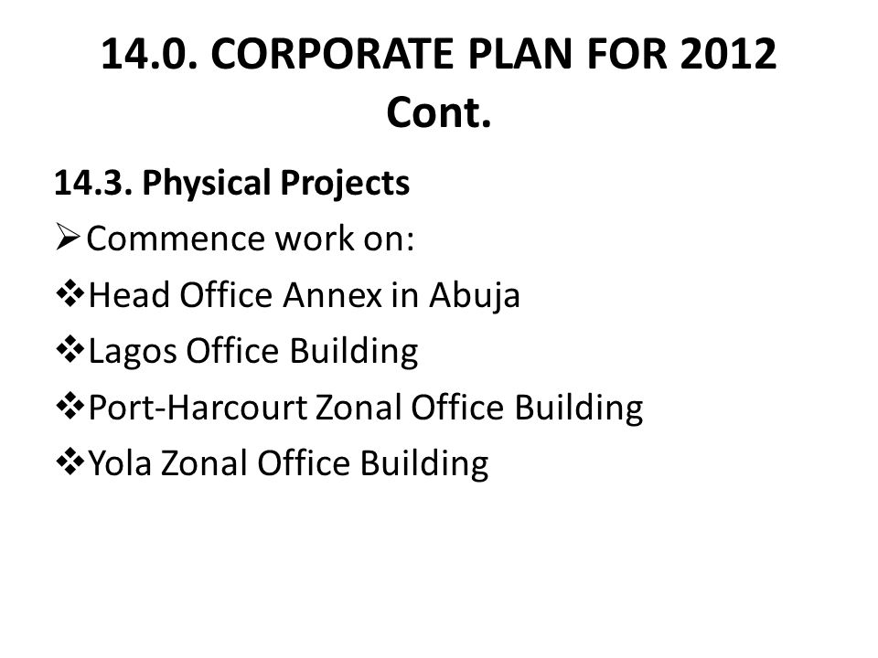 14.0. CORPORATE PLAN FOR 2012 Cont. 14.3.