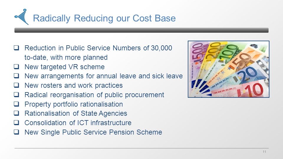 11 Radically Reducing our Cost Base  Reduction in Public Service Numbers of 30,000 to-date, with more planned  New targeted VR scheme  New arrangements for annual leave and sick leave  New rosters and work practices  Radical reorganisation of public procurement  Property portfolio rationalisation  Rationalisation of State Agencies  Consolidation of ICT infrastructure  New Single Public Service Pension Scheme