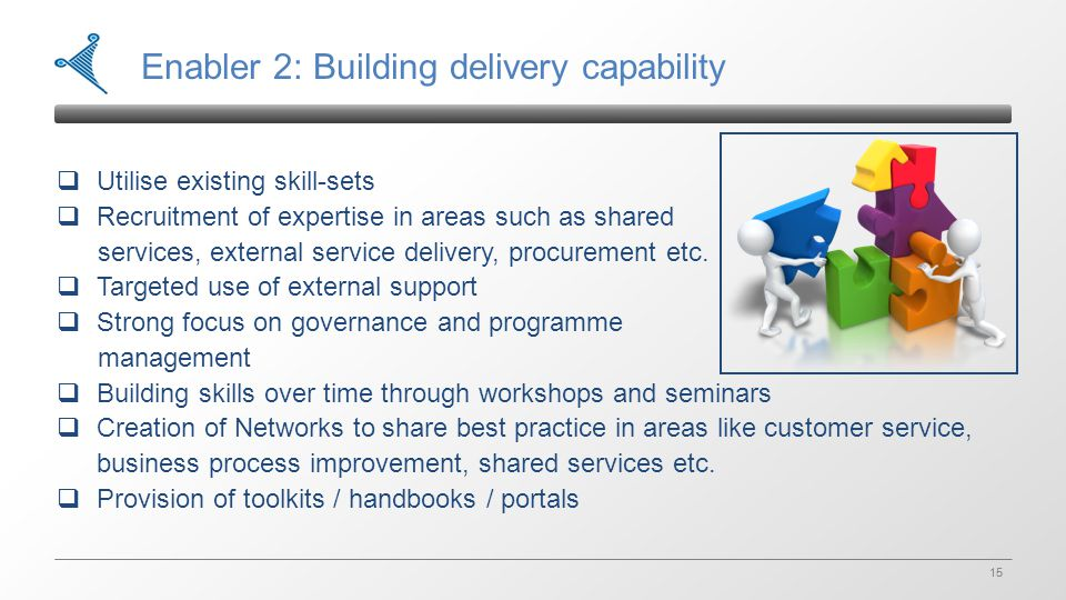 15 Enabler 2: Building delivery capability  Utilise existing skill-sets  Recruitment of expertise in areas such as shared services, external service