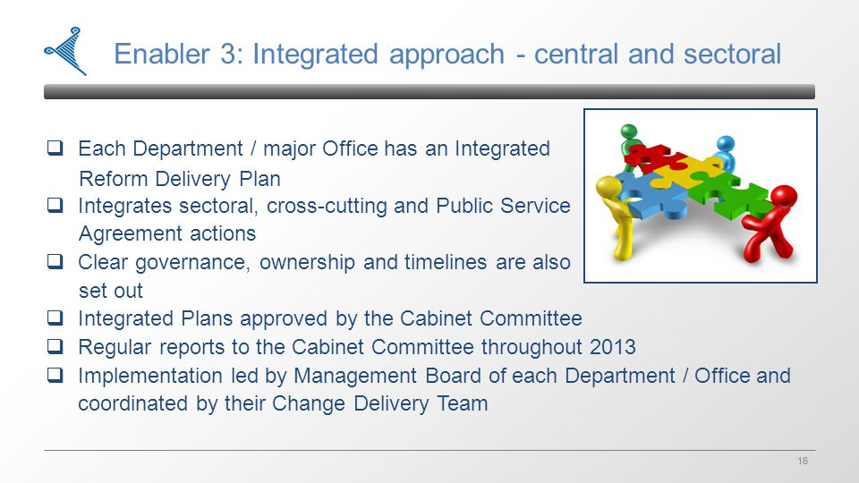 16 Enabler 3: Integrated approach - central and sectoral  Each Department / major Office has an Integrated Reform Delivery Plan  Integrates sectoral, cross-cutting and Public Service Agreement actions  Clear governance, ownership and timelines are also set out  Integrated Plans approved by the Cabinet Committee  Regular reports to the Cabinet Committee throughout 2013  Implementation led by Management Board of each Department / Office and coordinated by their Change Delivery Team