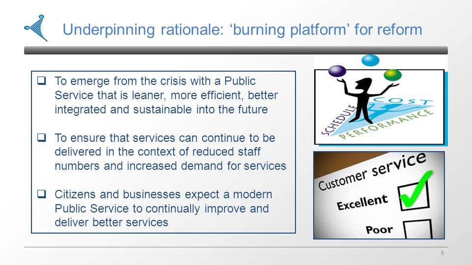 5 5 Underpinning rationale: 'burning platform' for reform  To emerge from the crisis with a Public Service that is leaner, more efficient, better int