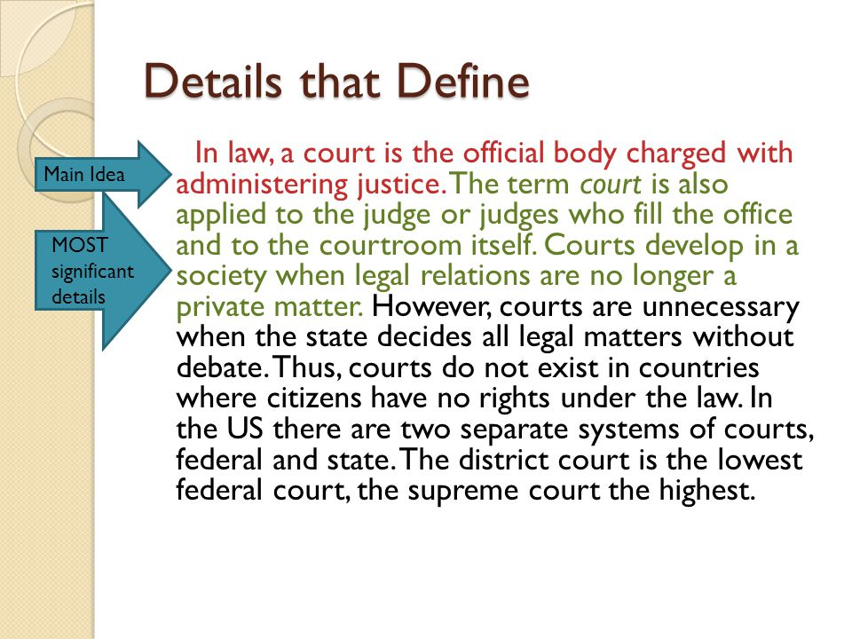 Details that Define In law, a court is the official body charged with administering justice.
