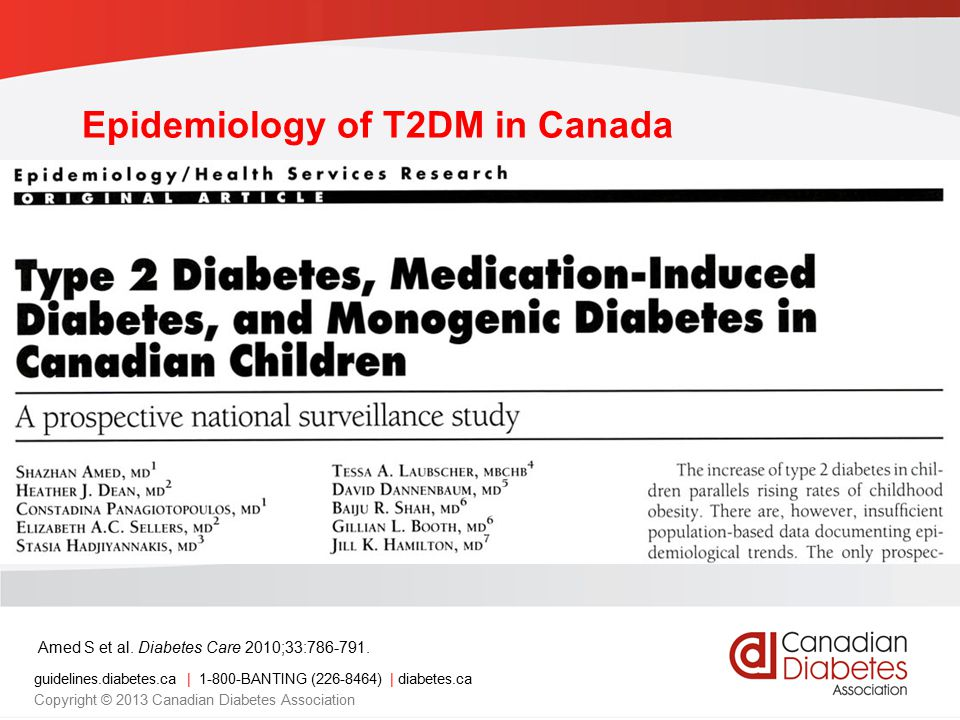 guidelines.diabetes.ca | 1-800-BANTING (226-8464) | diabetes.ca Copyright © 2013 Canadian Diabetes Association Minimum Incidence Rates of Non-T1DM in Canadian Children <18 years Amed S et al.