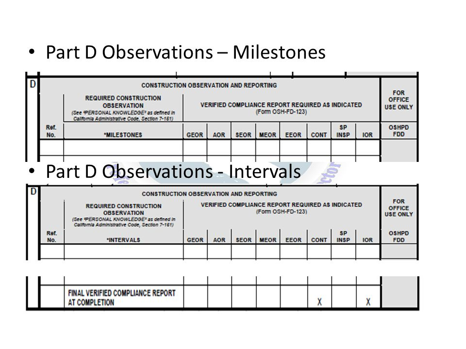 Part D Observations – Milestones Part D Observations - Intervals