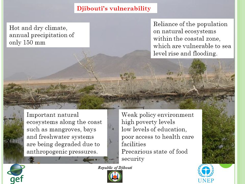 Republic of Djibouti Djibouti's vulnerability Hot and dry climate, annual precipitation of only 150 mm Reliance of the population on natural ecosystems within the coastal zone, which are vulnerable to sea level rise and flooding.