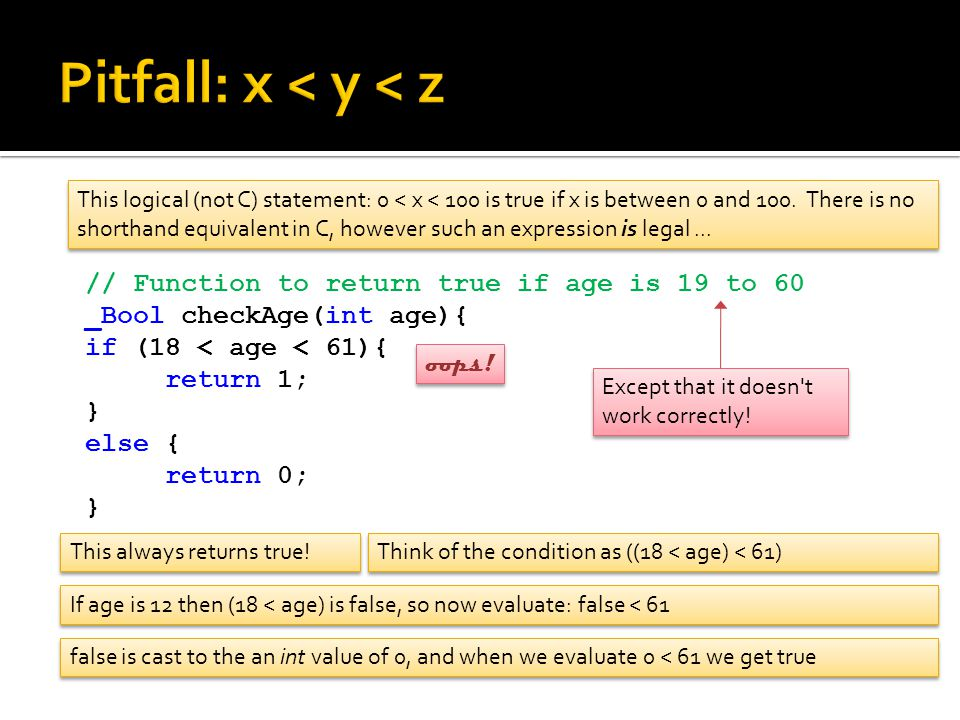 // Function to return true if age is 19 to 60 _Bool checkAge(int age){ if (18 < age < 61){ return 1; } else { return 0; } This logical (not C) statement: 0 < x < 100 is true if x is between 0 and 100.