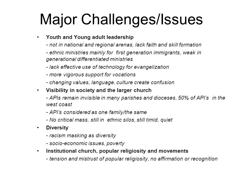 Major Challenges/Issues Youth and Young adult leadership - not in national and regional arenas, lack faith and skill formation - ethnic ministries mai
