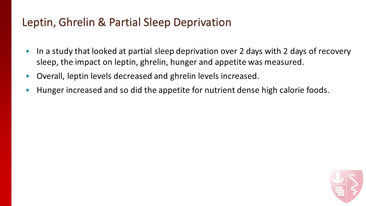 Leptin, Ghrelin & Partial Sleep Deprivation In a study that looked at partial sleep deprivation over 2 days with 2 days of recovery sleep, the impact on leptin, ghrelin, hunger and appetite was measured.