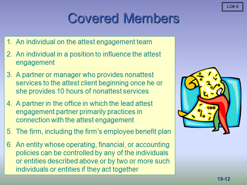 Covered Members 1.An individual on the attest engagement team 2.An individual in a position to influence the attest engagement 3.A partner or manager