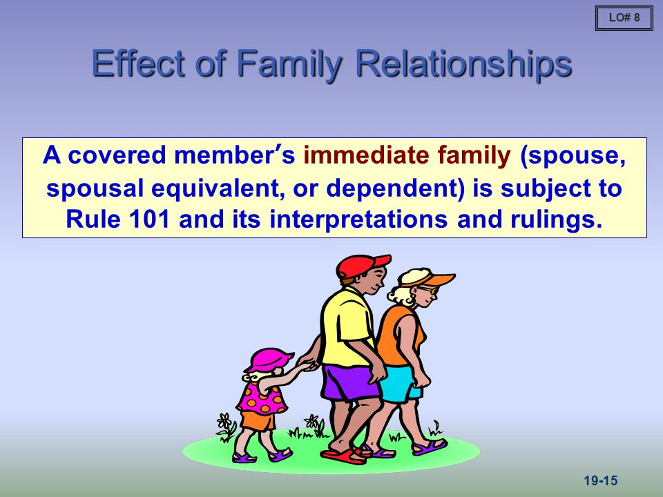 Effect of Family Relationships A covered member's immediate family (spouse, spousal equivalent, or dependent) is subject to Rule 101 and its interpret