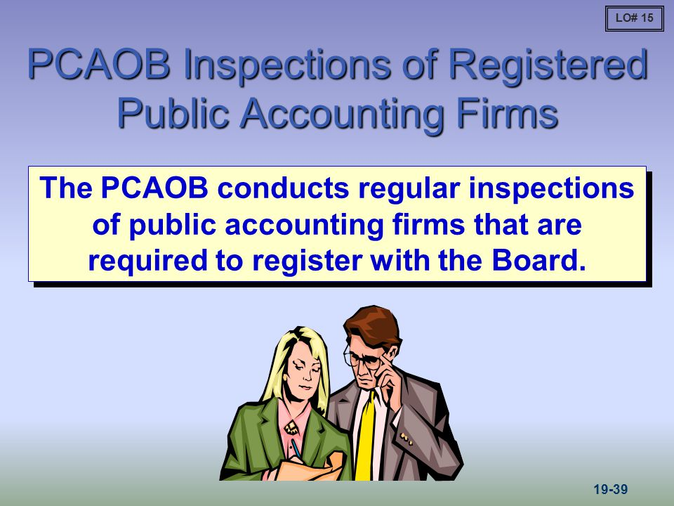 PCAOB Inspections of Registered Public Accounting Firms The PCAOB conducts regular inspections of public accounting firms that are required to registe
