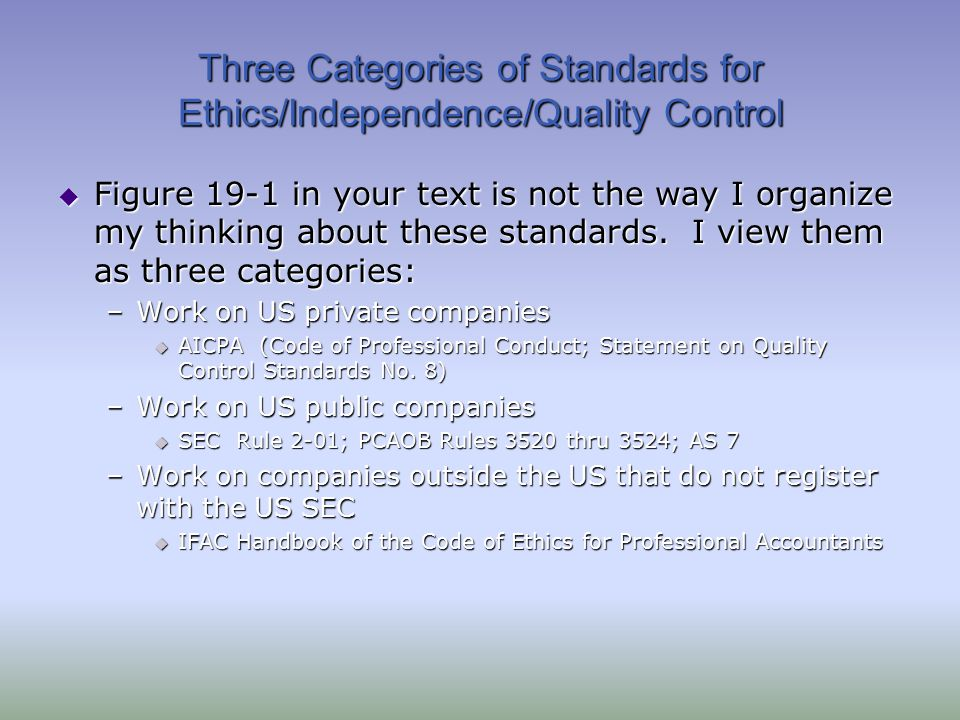 Three Categories of Standards for Ethics/Independence/Quality Control  Figure 19-1 in your text is not the way I organize my thinking about these sta