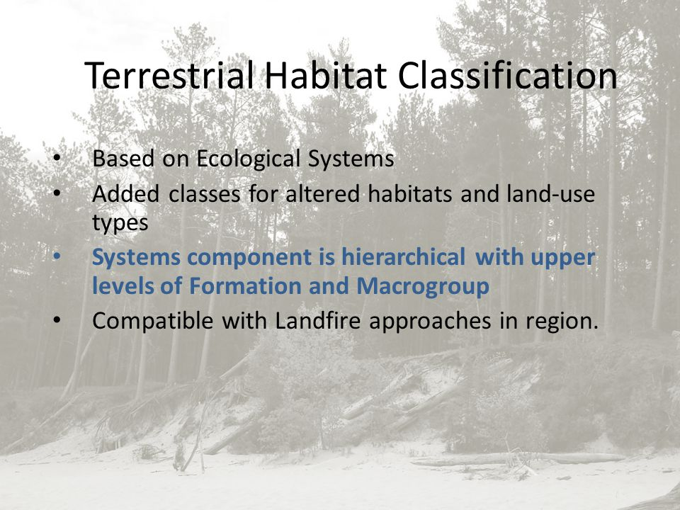 Terrestrial Habitat Classification Based on Ecological Systems Added classes for altered habitats and land-use types Systems component is hierarchical with upper levels of Formation and Macrogroup Compatible with Landfire approaches in region.