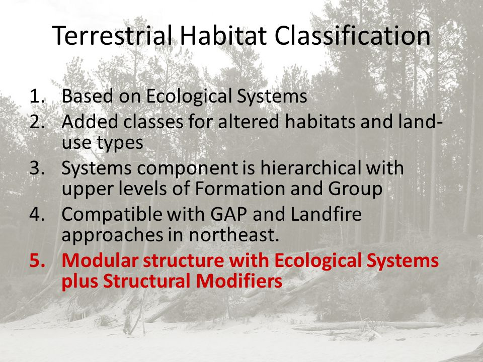 Terrestrial Habitat Classification 1.Based on Ecological Systems 2.Added classes for altered habitats and land- use types 3.Systems component is hierarchical with upper levels of Formation and Group 4.Compatible with GAP and Landfire approaches in northeast.