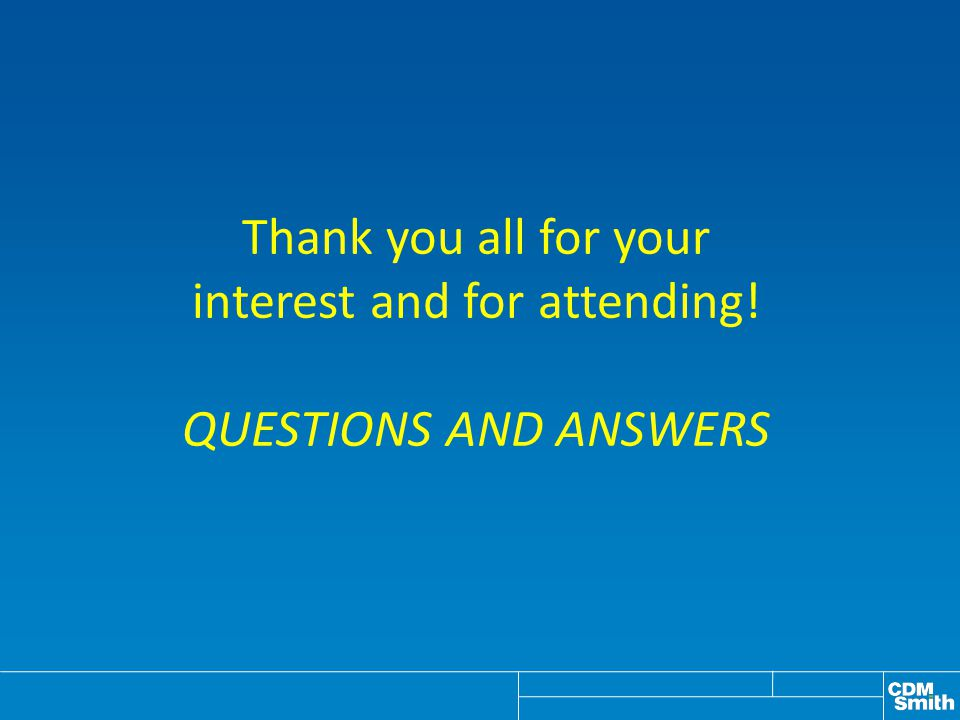 Thank you all for your interest and for attending! QUESTIONS AND ANSWERS