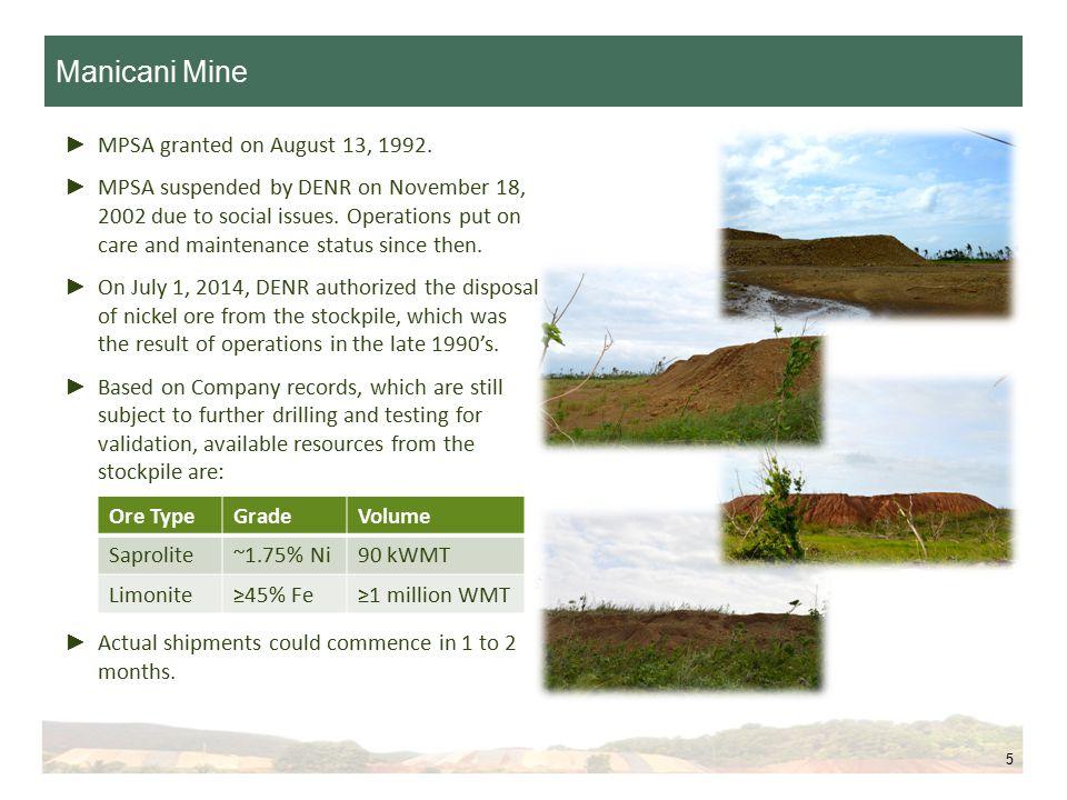 Manicani Mine 5 ► MPSA granted on August 13, 1992.