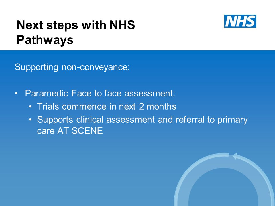 Next steps with NHS Pathways Supporting non-conveyance: Paramedic Face to face assessment: Trials commence in next 2 months Supports clinical assessment and referral to primary care AT SCENE