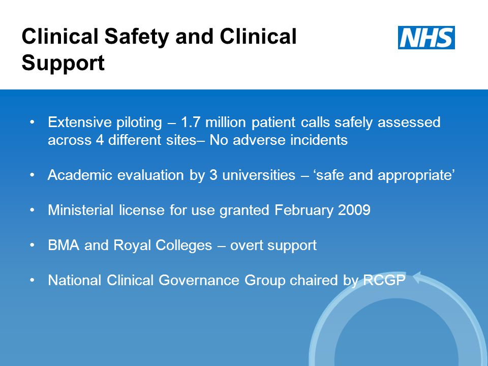 Clinical Safety and Clinical Support Extensive piloting – 1.7 million patient calls safely assessed across 4 different sites– No adverse incidents Academic evaluation by 3 universities – 'safe and appropriate' Ministerial license for use granted February 2009 BMA and Royal Colleges – overt support National Clinical Governance Group chaired by RCGP