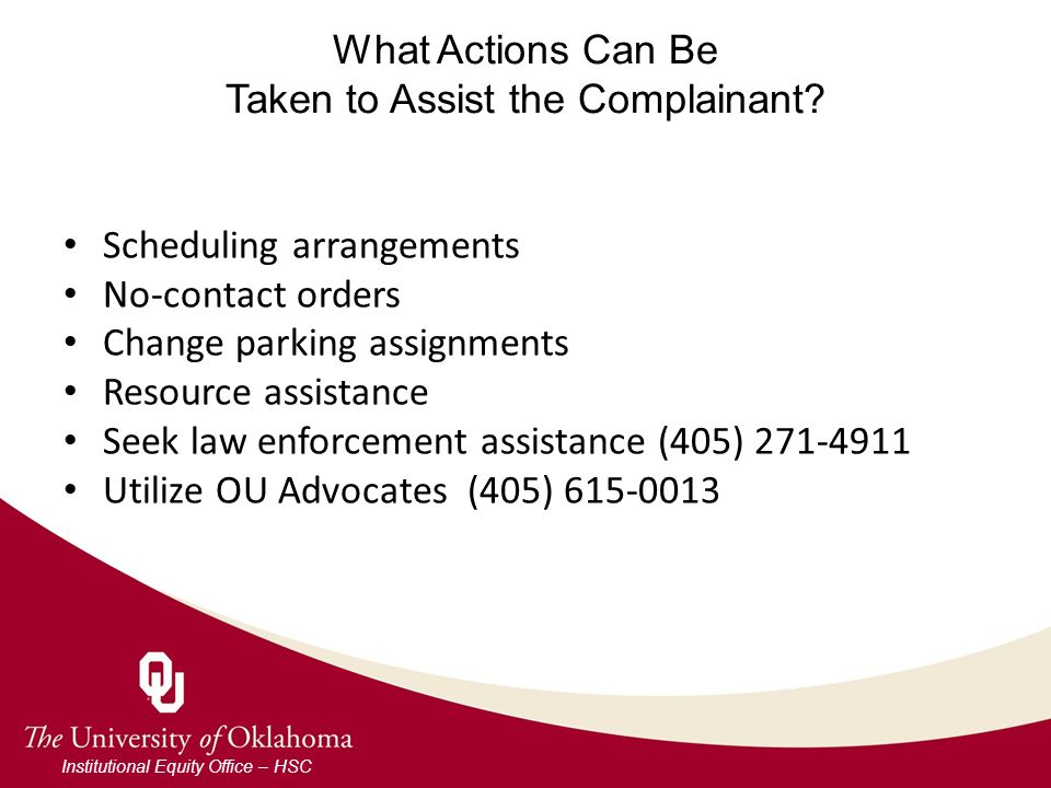 What Actions Can Be Taken to Assist the Complainant.