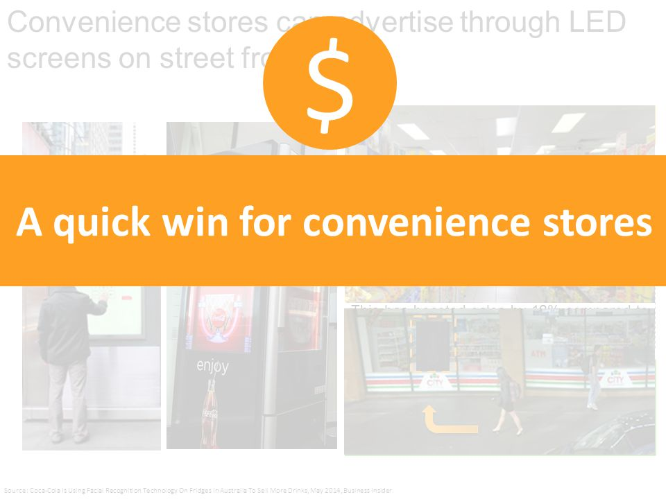 Convenience stores can advertise through LED screens on street front Coca Cola used biometrics and facial recognition technology via a clear LED digital screen on fridges.