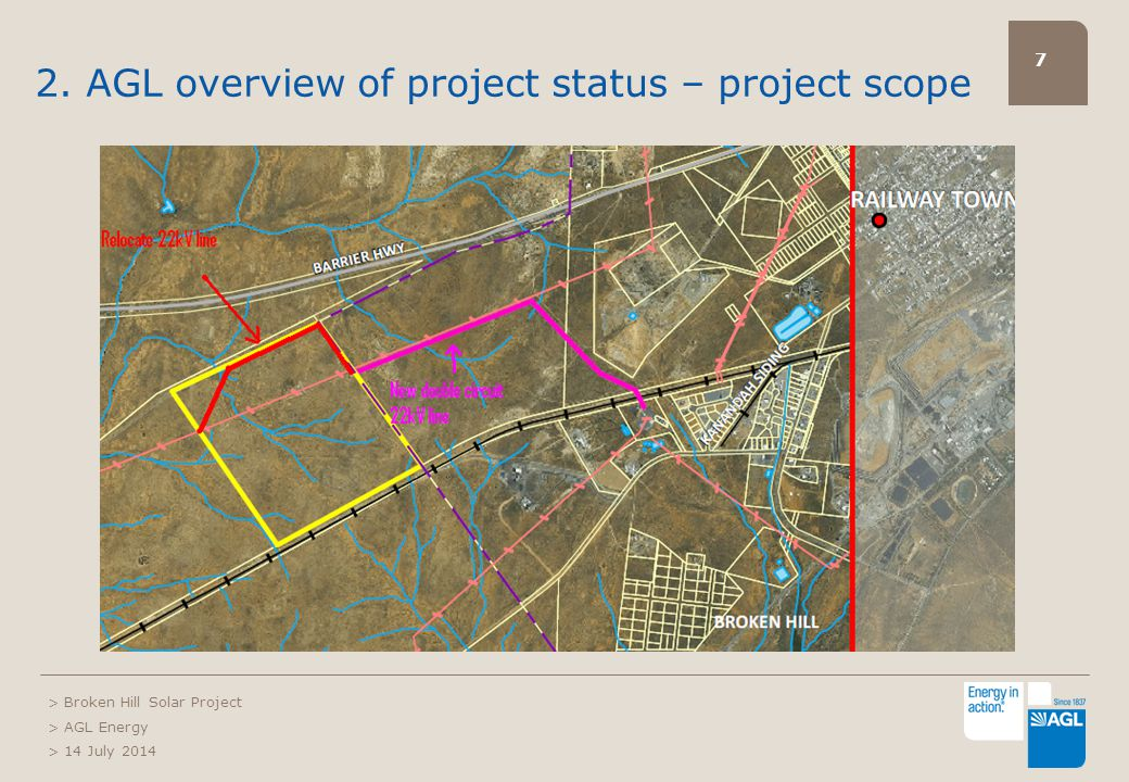 7 2. AGL overview of project status – project scope > Broken Hill Solar Project > AGL Energy > 14 July 2014