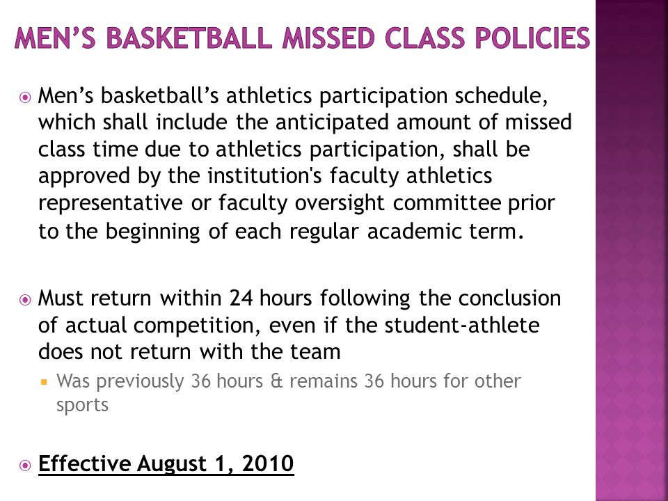  Men's basketball's athletics participation schedule, which shall include the anticipated amount of missed class time due to athletics participation, shall be approved by the institution s faculty athletics representative or faculty oversight committee prior to the beginning of each regular academic term.