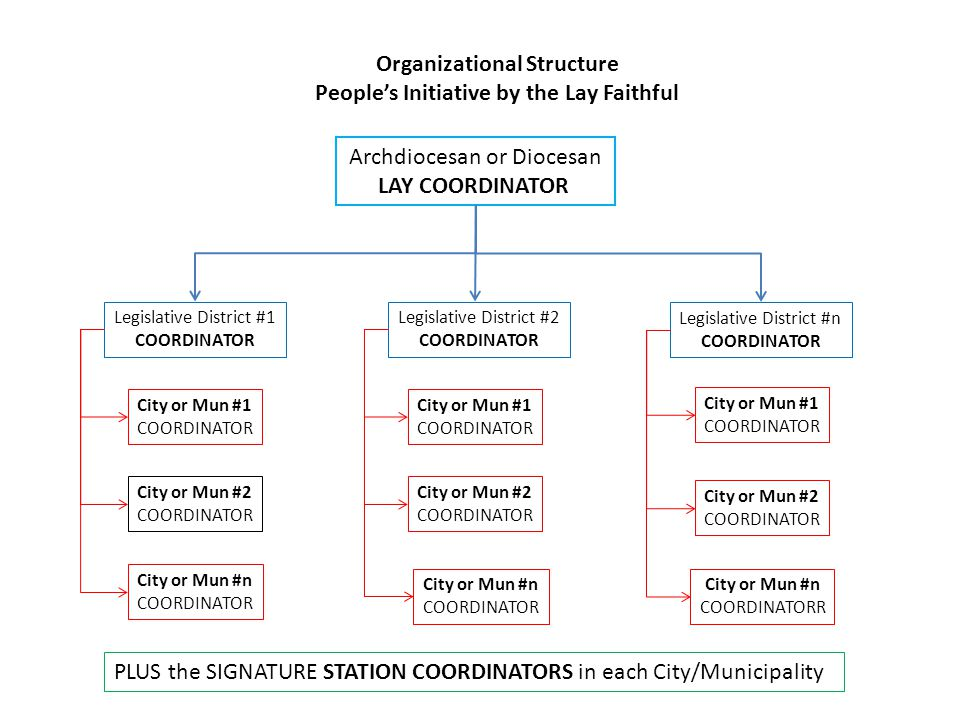 Archdiocesan or Diocesan LAY COORDINATOR Legislative District #1 COORDINATOR Legislative District #2 COORDINATOR Legislative District #n COORDINATOR City or Mun #1 COORDINATOR City or Mun #1 COORDINATOR City or Mun #2 COORDINATOR City or Mun #2 COORDINATOR City or Mun #n COORDINATOR City or Mun #n COORDINATOR City or Mun #n COORDINATORR City or Mun #2 COORDINATOR City or Mun #1 COORDINATOR Organizational Structure People's Initiative by the Lay Faithful PLUS the SIGNATURE STATION COORDINATORS in each City/Municipality
