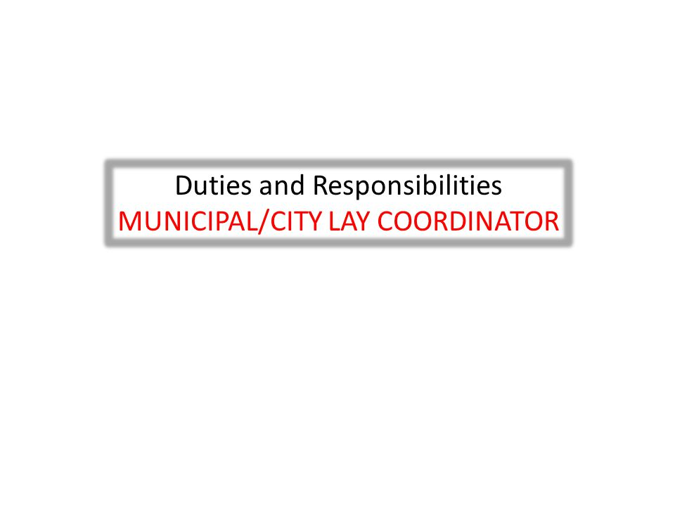Duties and Responsibilities MUNICIPAL/CITY LAY COORDINATOR