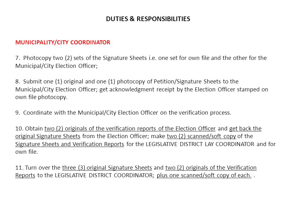 MUNICIPALITY/CITY COORDINATOR 7. Photocopy two (2) sets of the Signature Sheets i.e.