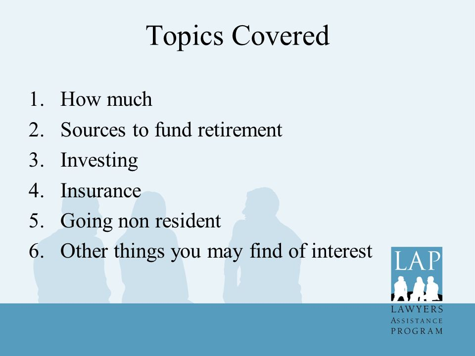 RRSP's (cont) By December 31 of the year you reach age 69, you must either collapse plan, transfer to a Registered Retirement Income Fund (RRIF), an annuity or any combination of the three Complete withdrawal will likely attract large income tax liability RRIF essentially carries on like the RRSP except there is a required minimum annual withdrawal, but no maximum Annuity usually guarantees some fixed stream of income, usually for some guaranteed period or the rest of your life Annuities can be indexed, have surviving spouse entitlements amongst other options