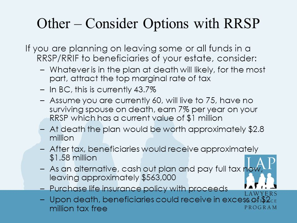 Other – Consider Options with RRSP If you are planning on leaving some or all funds in a RRSP/RRIF to beneficiaries of your estate, consider: –Whatever is in the plan at death will likely, for the most part, attract the top marginal rate of tax –In BC, this is currently 43.7% –Assume you are currently 60, will live to 75, have no surviving spouse on death, earn 7% per year on your RRSP which has a current value of $1 million –At death the plan would be worth approximately $2.8 million –After tax, beneficiaries would receive approximately $1.58 million –As an alternative, cash out plan and pay full tax now, leaving approximately $563,000 –Purchase life insurance policy with proceeds –Upon death, beneficiaries could receive in excess of $2 million tax free