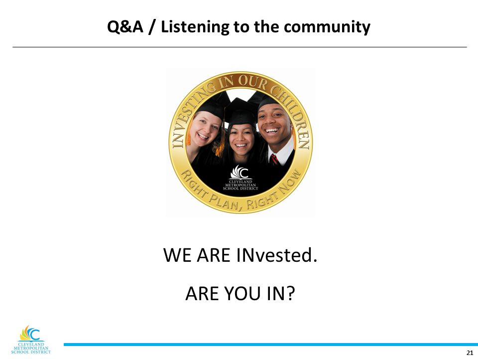 21 Q&A / Listening to the community WE ARE INvested. ARE YOU IN