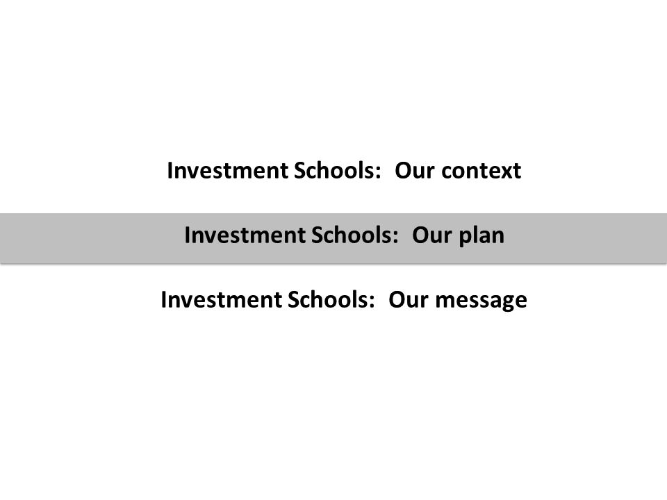 7 Investment Schools: Our context Investment Schools: Our plan Investment Schools: Our message
