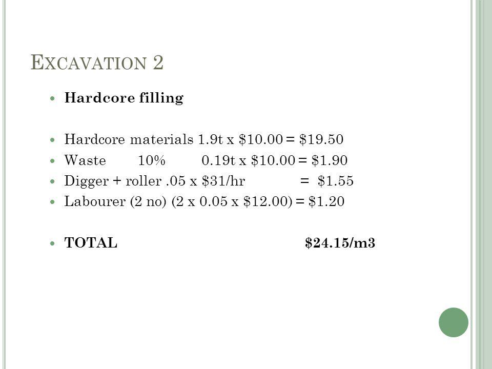 E XCAVATION 2 Hardcore filling Hardcore materials 1.9t x $10.00 = $19.50 Waste 10% 0.19t x $10.00 = $1.90 Digger + roller.05 x $31/hr = $1.55 Labourer (2 no) (2 x 0.05 x $12.00) = $1.20 TOTAL $24.15/m3