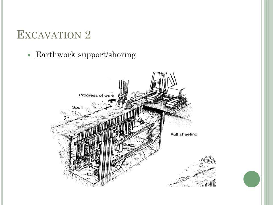 E XCAVATION 2 Earthwork support/shoring