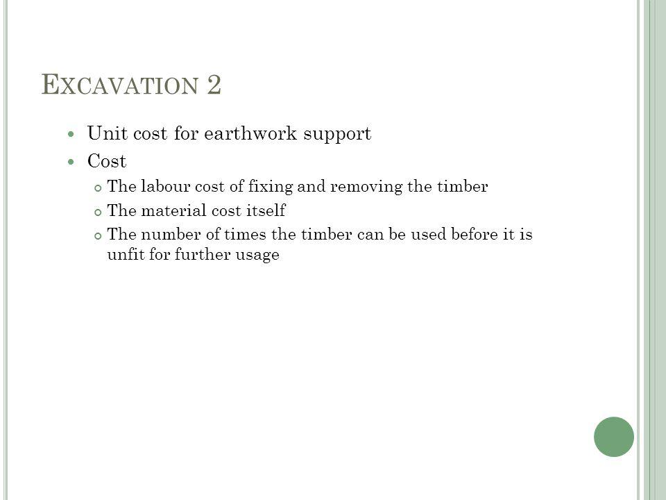 E XCAVATION 2 Excavate to reduced levels Digger 0.09hr/m3 x $28.00 = $2.52 Banksman 0.09hr/m3 x $12.00 = $1.08 Total $3.60/m3