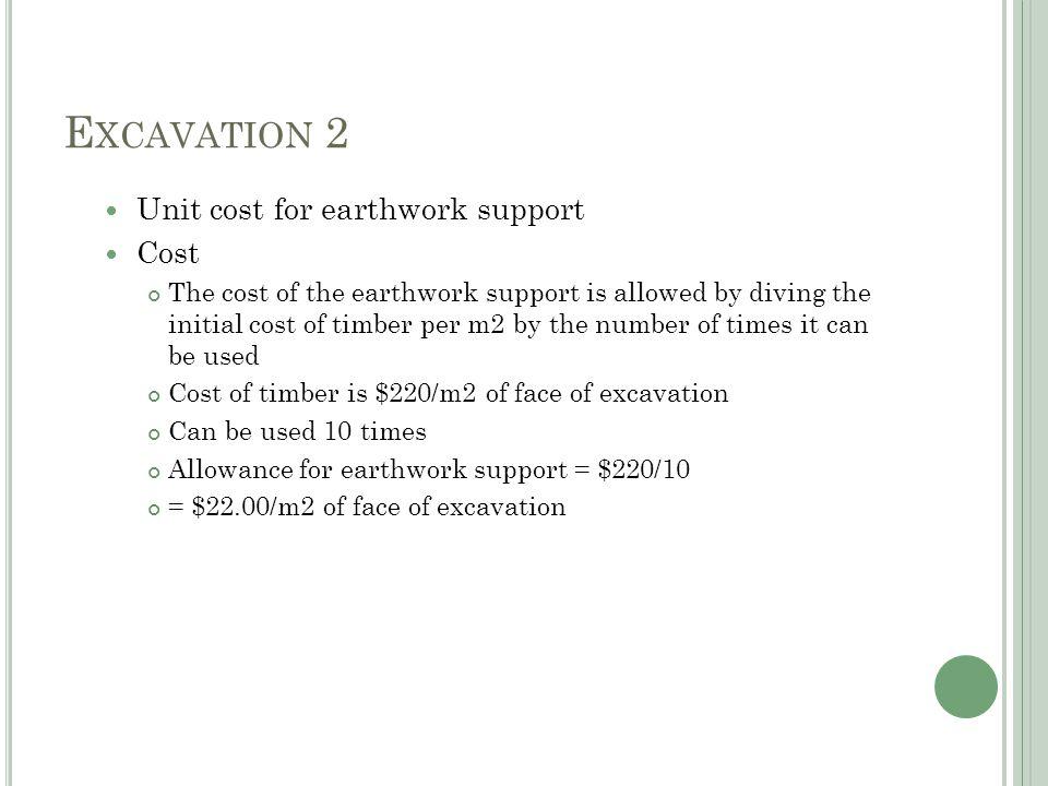 E XCAVATION 2 Excavate trenches Digger 0.14hr/m3 x $28.00 = $3.92 Banksman 0.14hr/m3 x $12.00 = $1.68 Labourer 0.14/m3 x $12.00 = $1.68 Total $7.28/m3