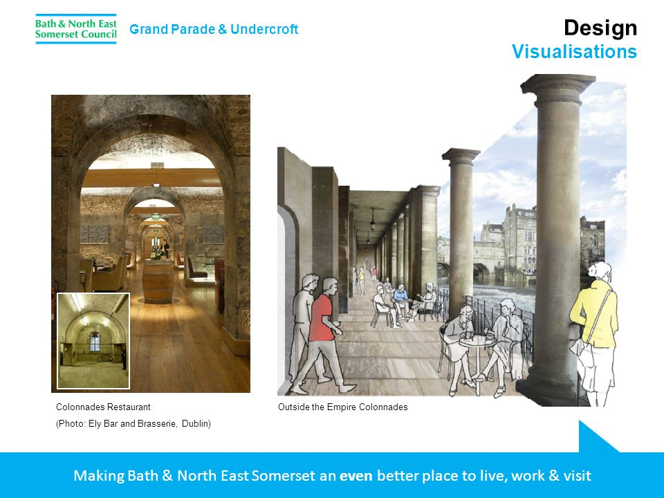 Making Bath & North East Somerset an even better place to live, work & visit Design Visualisations Grand Parade & Undercroft Colonnades Restaurant (Ph