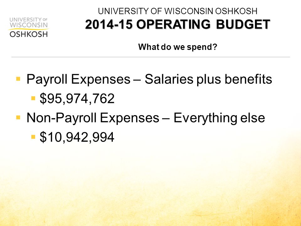  Payroll Expenses – Salaries plus benefits  $95,974,762  Non-Payroll Expenses – Everything else  $10,942,994 2014-15 OPERATING BUDGET UNIVERSITY OF WISCONSIN OSHKOSH 2014-15 OPERATING BUDGET What do we spend