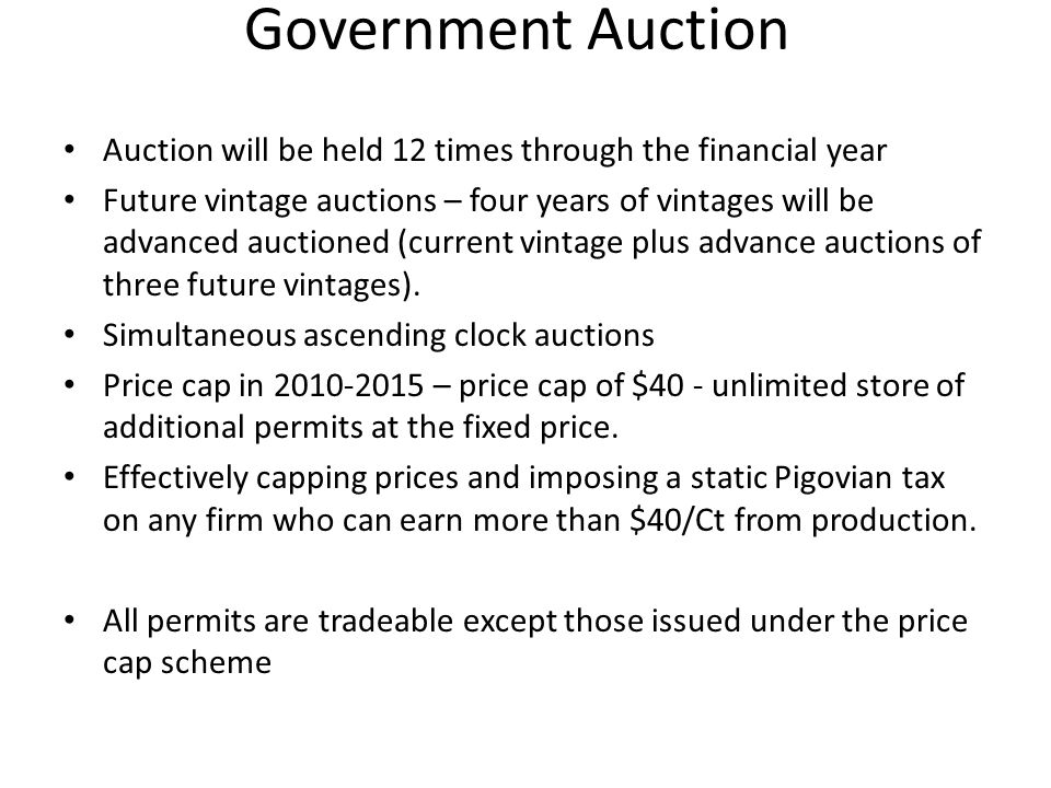 Auction will be held 12 times through the financial year Future vintage auctions – four years of vintages will be advanced auctioned (current vintage plus advance auctions of three future vintages).