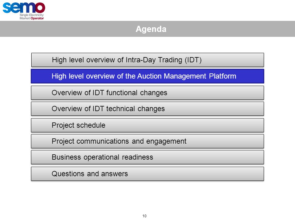10 Agenda High level overview of Intra-Day Trading (IDT) High level overview of the Auction Management Platform Overview of IDT functional changes Overview of IDT technical changes Project schedule Project communications and engagement Business operational readiness Questions and answers