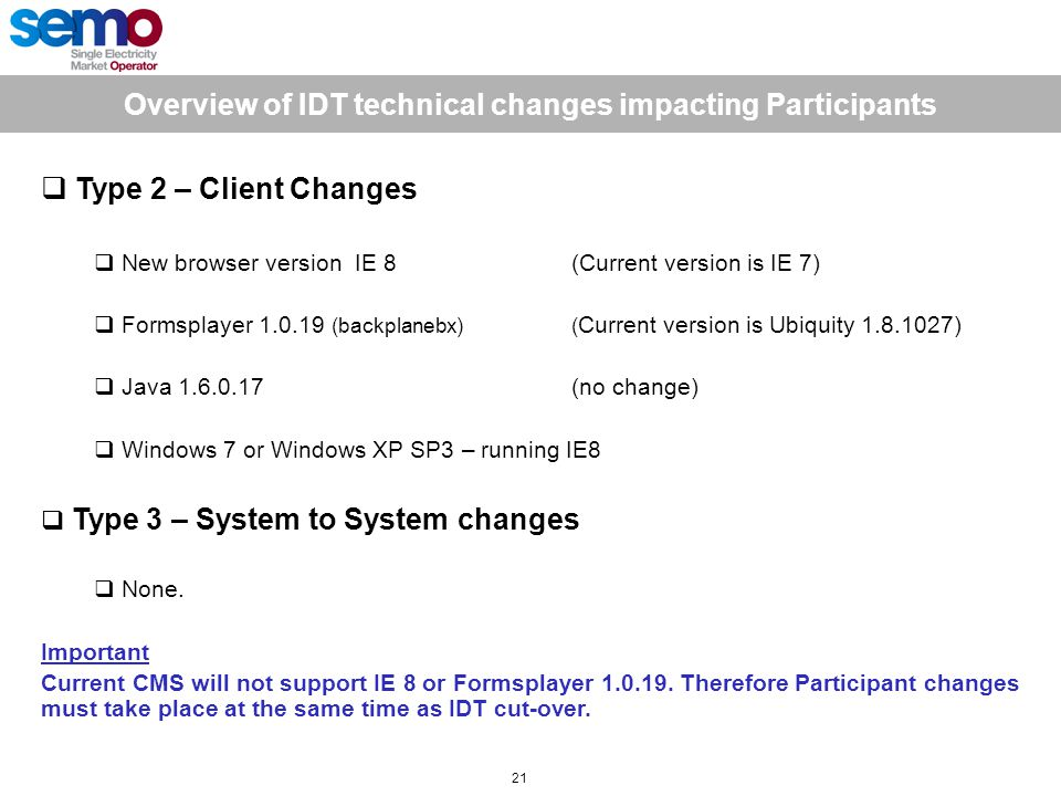 Overview of IDT technical changes impacting Participants 21  Type 2 – Client Changes  New browser version IE 8 (Current version is IE 7)  Formsplayer 1.0.19 (backplanebx)( Current version is Ubiquity 1.8.1027)  Java 1.6.0.17 (no change)  Windows 7 or Windows XP SP3 – running IE8  Type 3 – System to System changes  None.