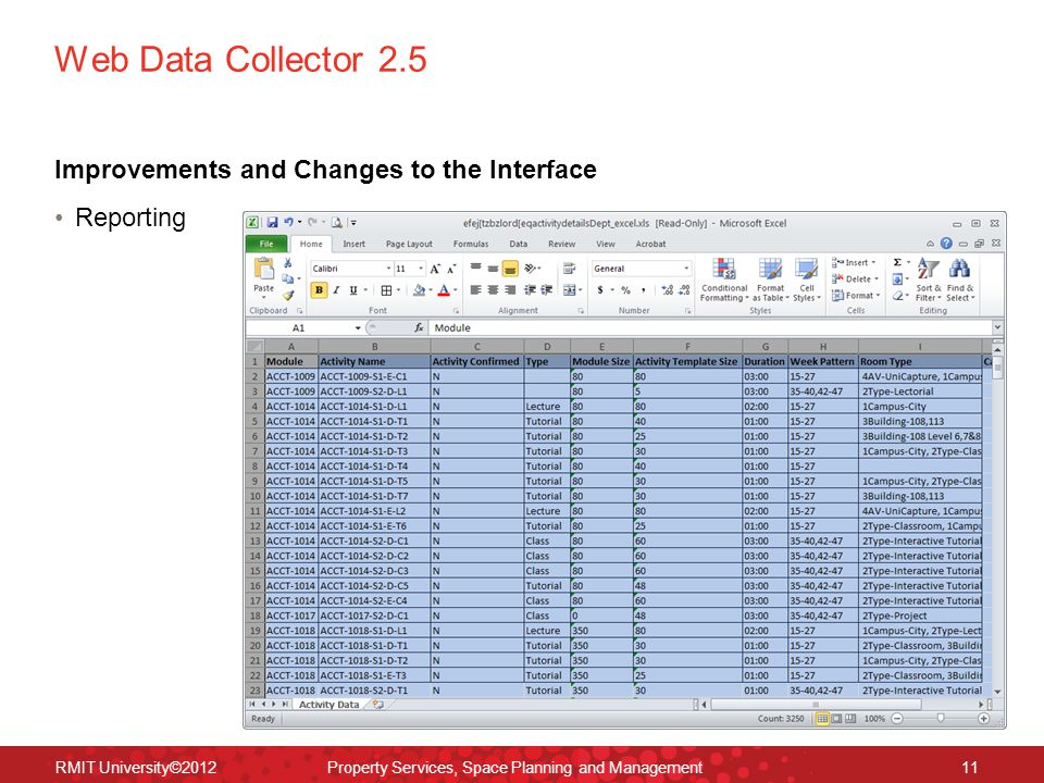 Web Data Collector 2.5 Improvements and Changes to the Interface Reporting RMIT University©2012 Property Services, Space Planning and Management11