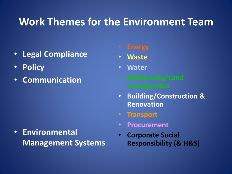 Work Themes for the Environment Team Energy Waste Water Biodiversity/Land management Building/Construction & Renovation Transport Procurement Corporate Social Responsibility (& H&S) Legal Compliance Policy Communication Environmental Management Systems