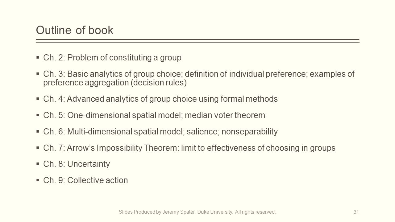 Outline of book  Ch.2: Problem of constituting a group  Ch.