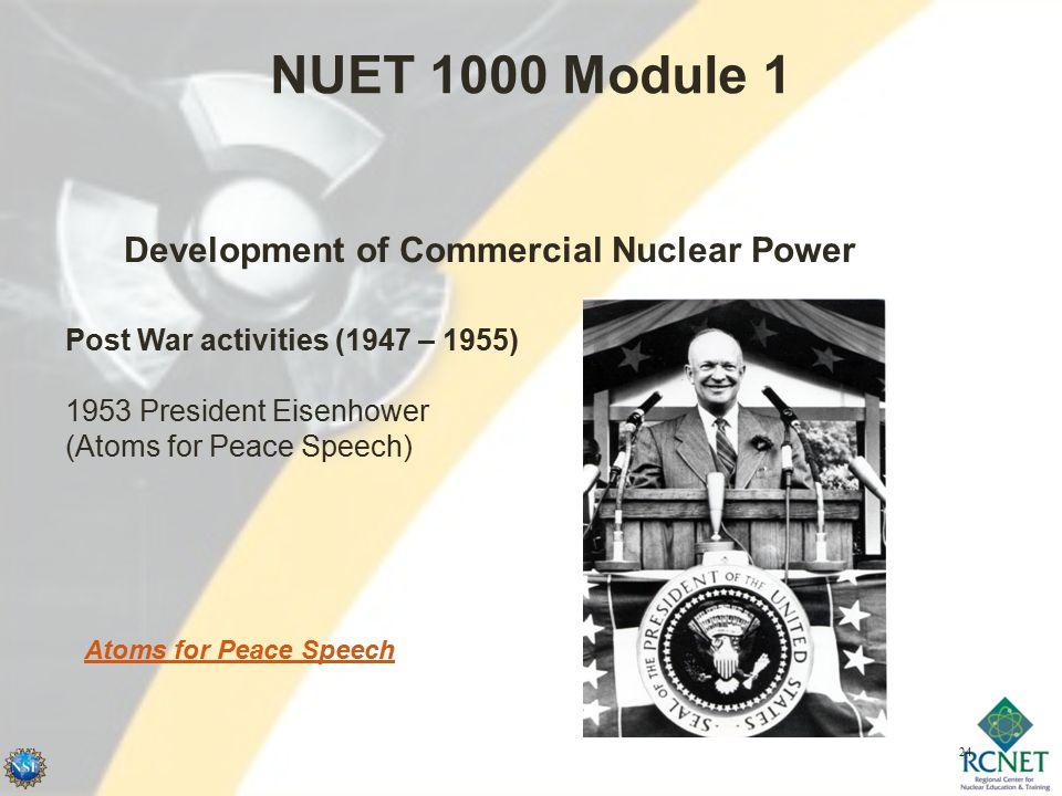 24 NUET 1000 Module 1 Development of Commercial Nuclear Power Post War activities (1947 – 1955) 1953 President Eisenhower (Atoms for Peace Speech) Atoms for Peace Speech