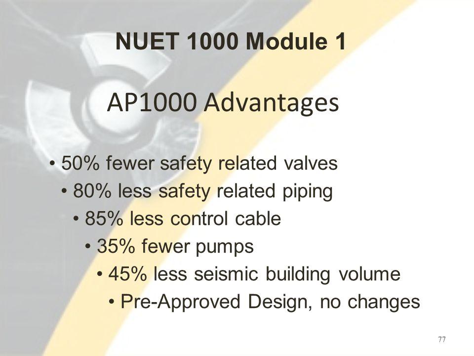 AP1000 Advantages 77 50% fewer safety related valves 80% less safety related piping 85% less control cable 35% fewer pumps 45% less seismic building volume Pre-Approved Design, no changes NUET 1000 Module 1